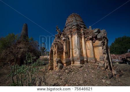 Ancient Pagodas At Shwe Inn Taing Paya Near Inle Lake, Shan State , Myanmar.