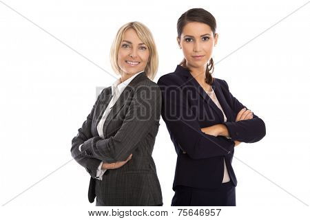 Portrait: Team of two isolated smiling and successful businesswoman in business outfit.