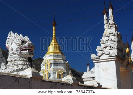 Golden Pagoda And Lion Guardians In Temple Of Pindaya City,Myanmar.