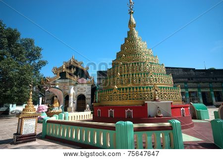 Image Of A Centuries Old Myanmar Pagoda In Buddhist Temple.