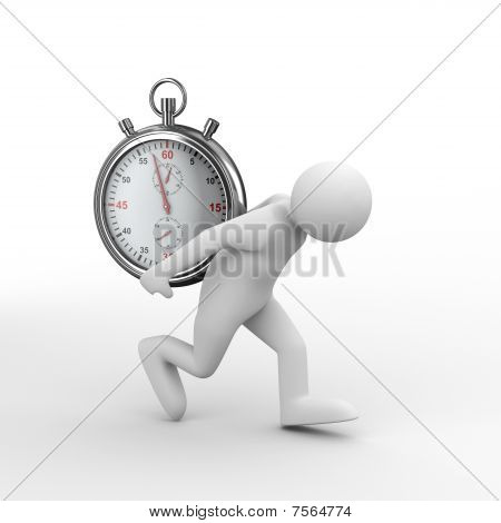 Stopwatch And Man On White Background. Isolated 3D Image