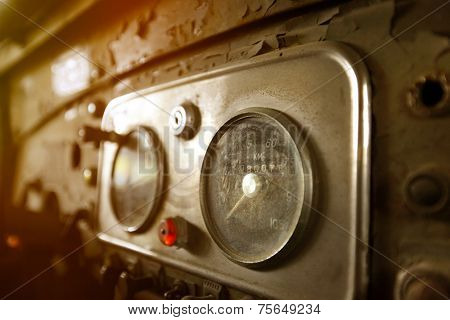 Old car instrument panel