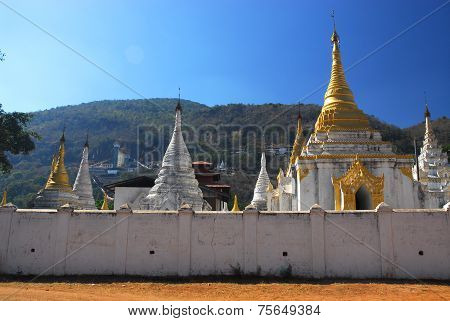 Pagoda in Temple of Pindaya City, Myanmar.