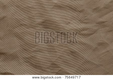 Crumpled Mesh Synthetic Fabric Of Brown Color