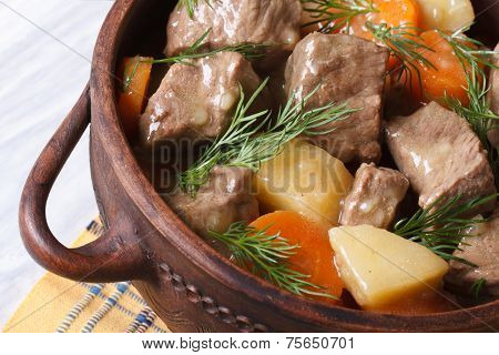Stew With Vegetables In A Pot Close Up. Horizontal Top View.