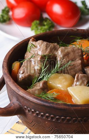 Beef Stew With Vegetables In A Pot Vertical