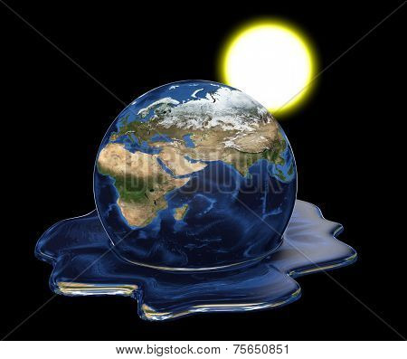 Environmental disaster concept of Earth melting