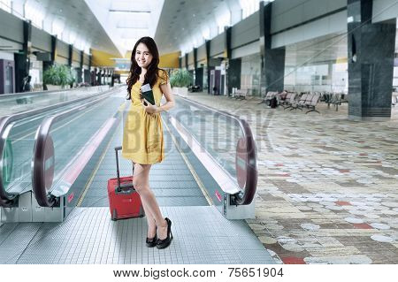 Gorgeous Girl Holding Passport And Luggage