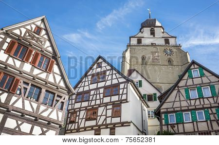 Herrenberg - Half-timbered houses and church Stiftskirche