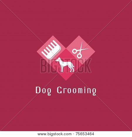 Flat pet grooming logo with dog