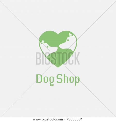 Flat pet shop logo with dogs in love