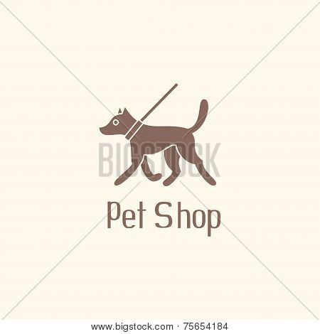 Cute pet shop logo with dog walking on leash