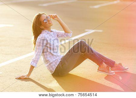 Street Fashion, Pretty Woman Enjoying Summer Having Fun In The City