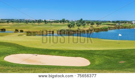 This Golf Course Grassy Field In Summer. For Tourists And Holiday.