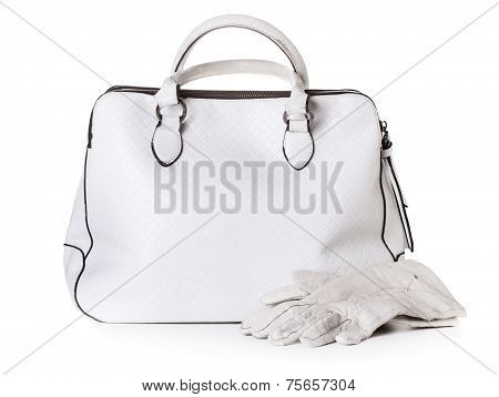 White Leather Bag And Gloves