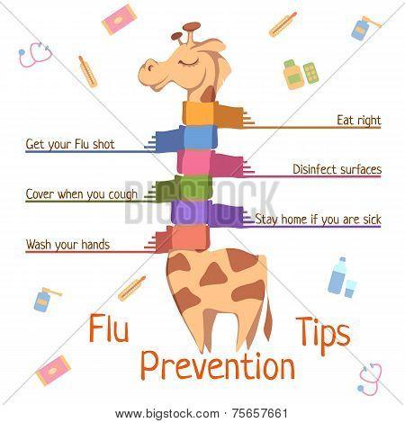 Flu Prevention Tips. Vector illustration with giraffe