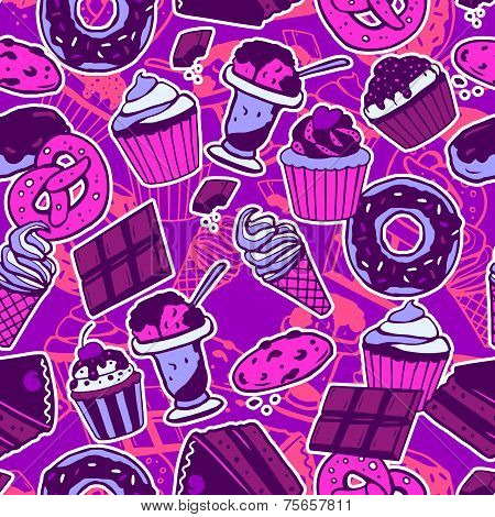 Seamless Pattern With Sweet Food, Cakes, Chocolate, Ice-cream, Cookies. Vector Seamless Texture For