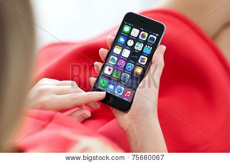 Woman Holding New Iphone 6 Space Gray In The Hand