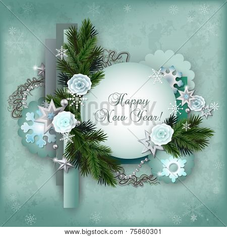 Vintage Multilayer Card For The Winter Holidays In Scrapbooking Style