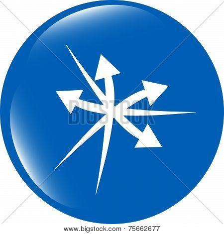 Arrow Icon Web Button Isolated On White Background