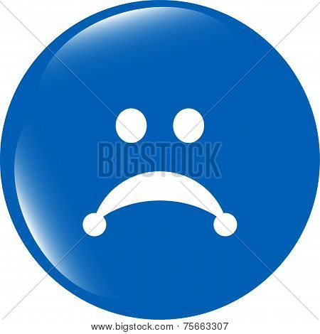 Sad Icon (button) Isolated On White Background