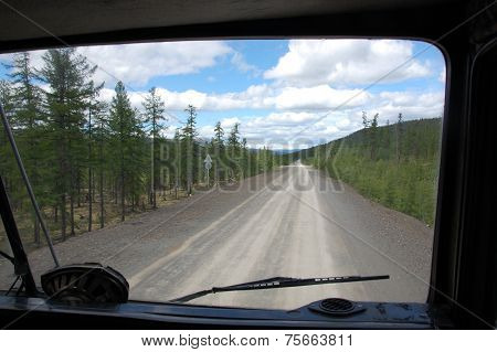 View From Truck To Gravel Road Kolyma Outback Russia