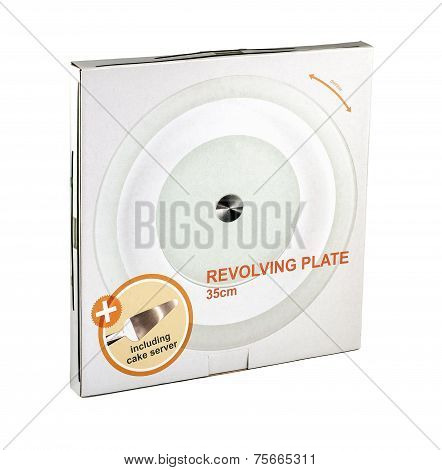Cardboard Box Of Revolving Glass Plate 35 Cm
