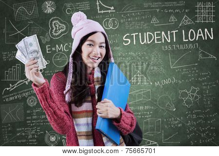 Attractive Girl With Money And Folder