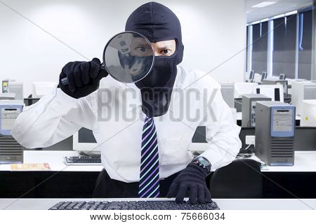 Businessman Wearing Mask Looking For Information 1