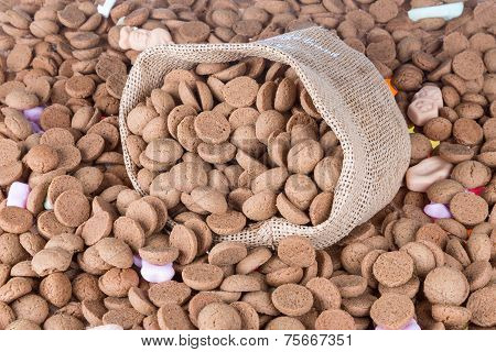 Background Of Ginger Nuts And A Jute Bag