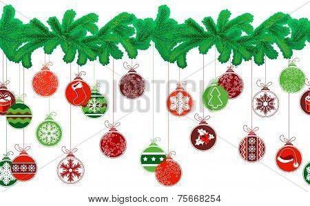 Seamless festive Christmas garland with fir and  balls