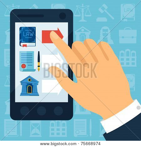 Concept illustration with mobile phone and law icons.