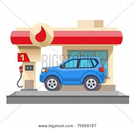 Gas Station And Car Isolated On White