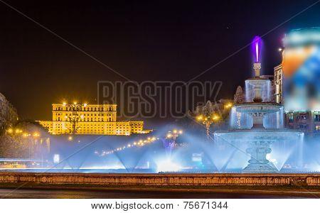 Water-jet Fountain In Unirii Square - Bucharest, Romania