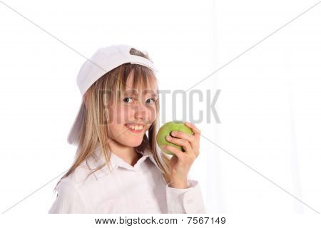 Young, Blonde Girl With Green Apple