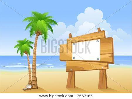 Palm trees and wooden sign