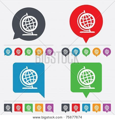 Globe sign icon. Geography symbol.