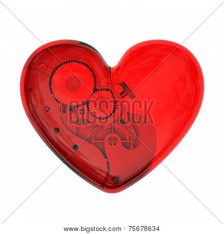 Mechanical Heart From Red Glass
