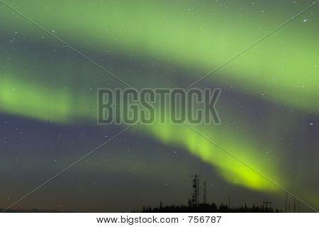 Aurora Strips Over Antennas
