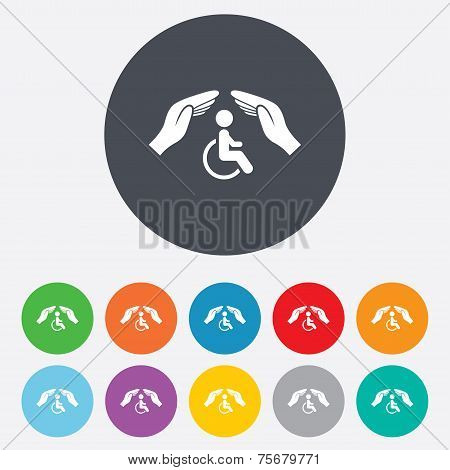 Disabled human insurance sign. Hands protect.