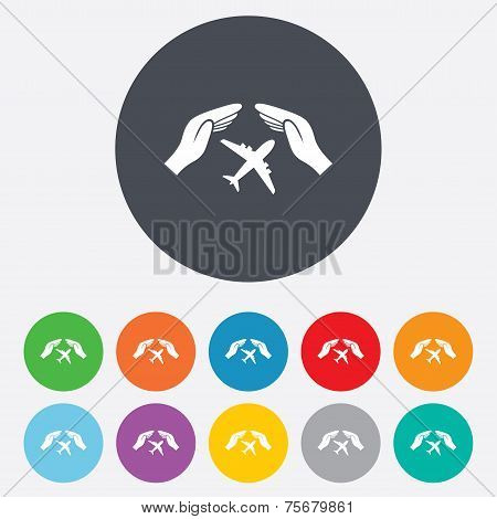 Flight insurance sign. Hands protect cover plane