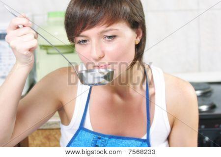 Woman Testing Food