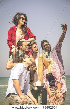 Friends Having Fun While Taking A Selfie