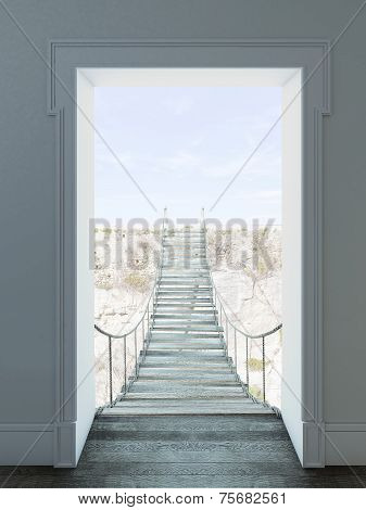 rope hanging bridge from door