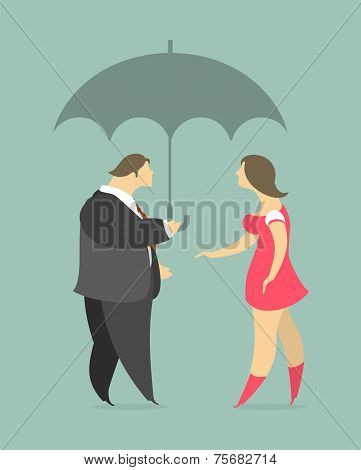 man and woman under an umbrella