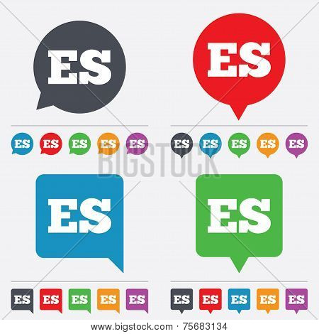 Vector Spanish language sign icon. ES translation.