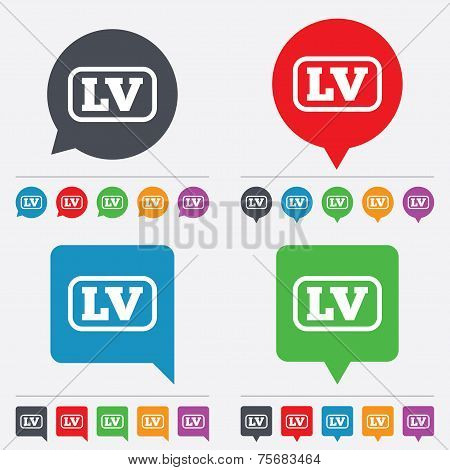Vector Latvian language sign icon. LV translation