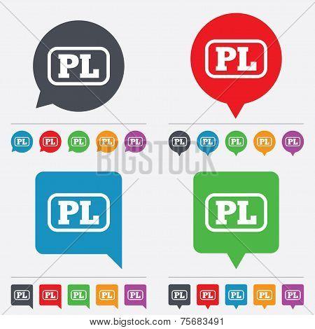 Vector Polish language sign icon. PL translation