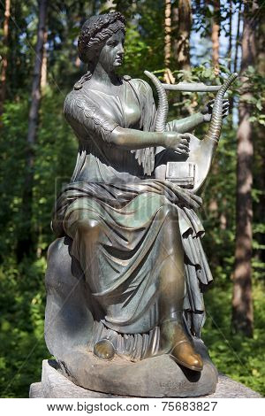 Bronze Sculpture Terpsichore, Muse Of Dance, Pavlovsk Park