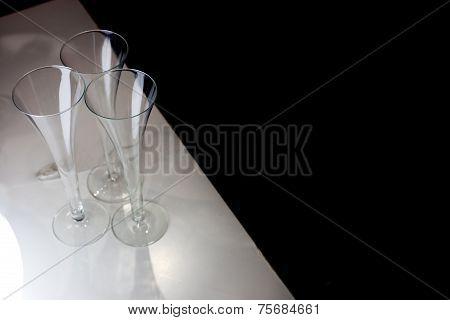 Three Champagne Glasses
